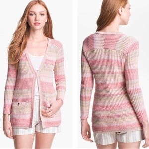 Tory Burch ombré striped knit sweater cardigan